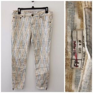 Free People Ikat Cropped Skinny Jeans NWT